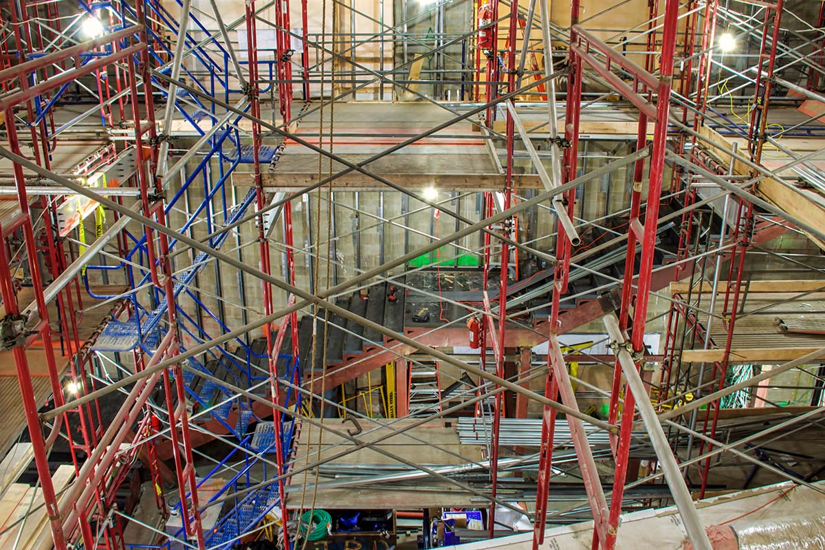 The large lobby stairs under construction by the J.T. Magen team at the Mount Sinai-Union Square care center in Manhattan, New York.